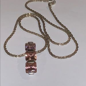 Jewelry - 925 Sterling Silver Pink Pendant w/Necklace
